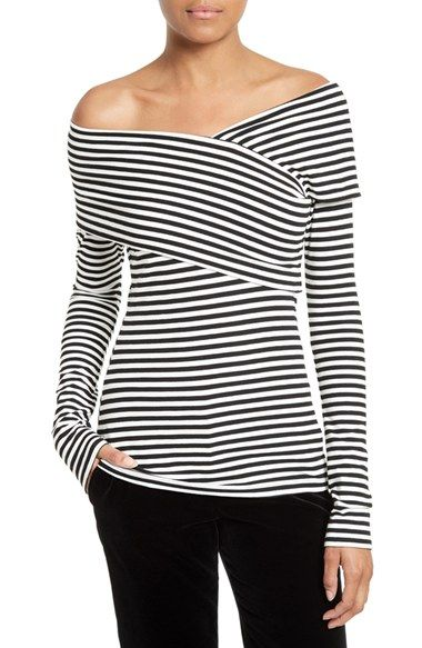 07c8fc907ace Free shipping and returns on Theory Kellay Off the Shoulder Stripe Top at  Nordstrom.com. Exude a vintage bombshell vibe with a stretch-knit top  sculpting ...