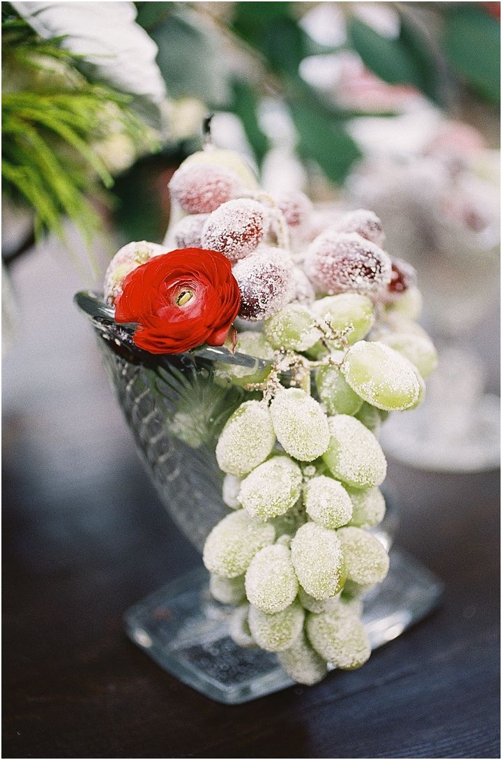 Christmas-wedding-ideas. Sugar covered fruit makes a great table decoration!