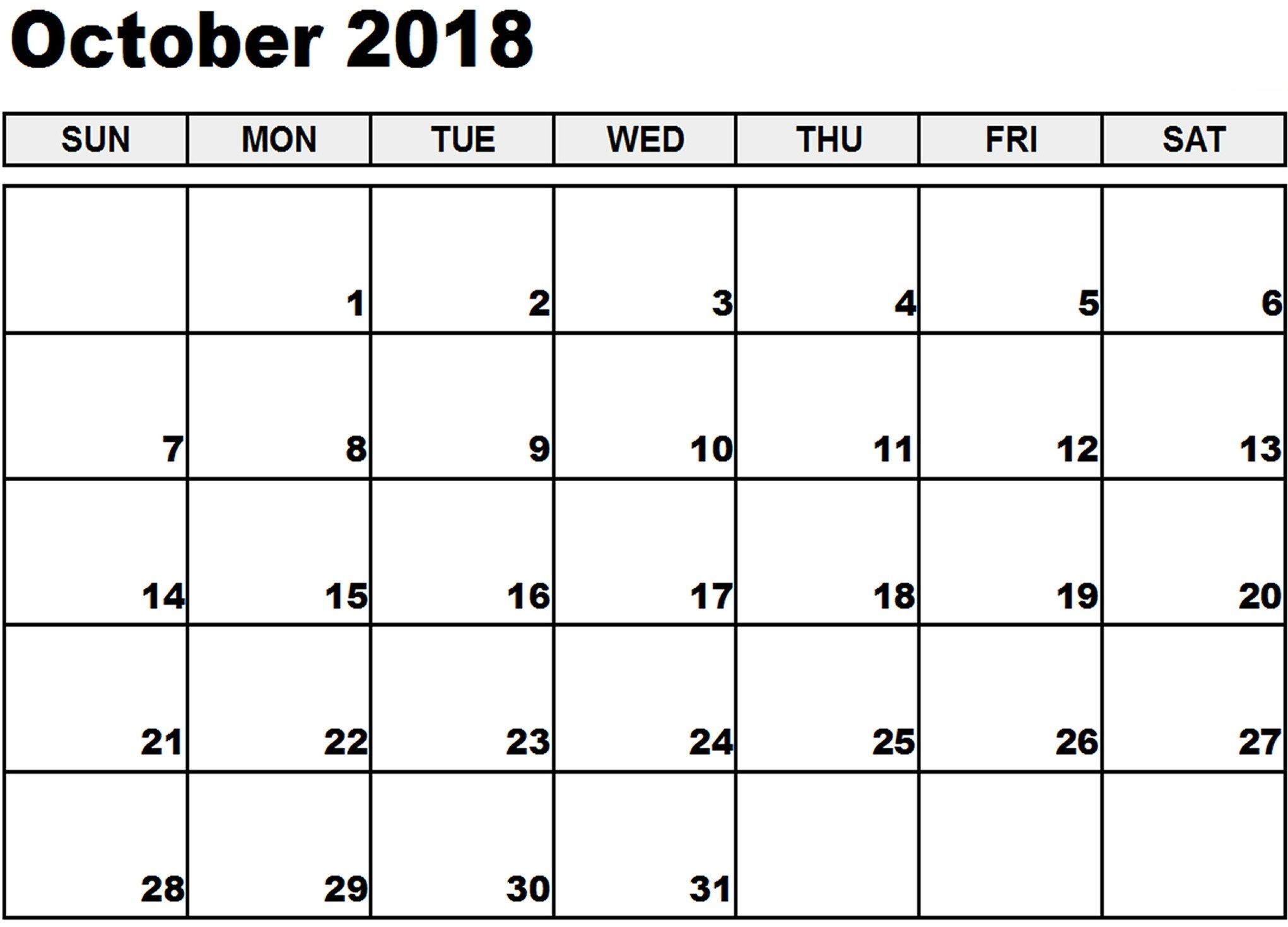 Free Printable Calendar October 2019 Pdf Template With Images