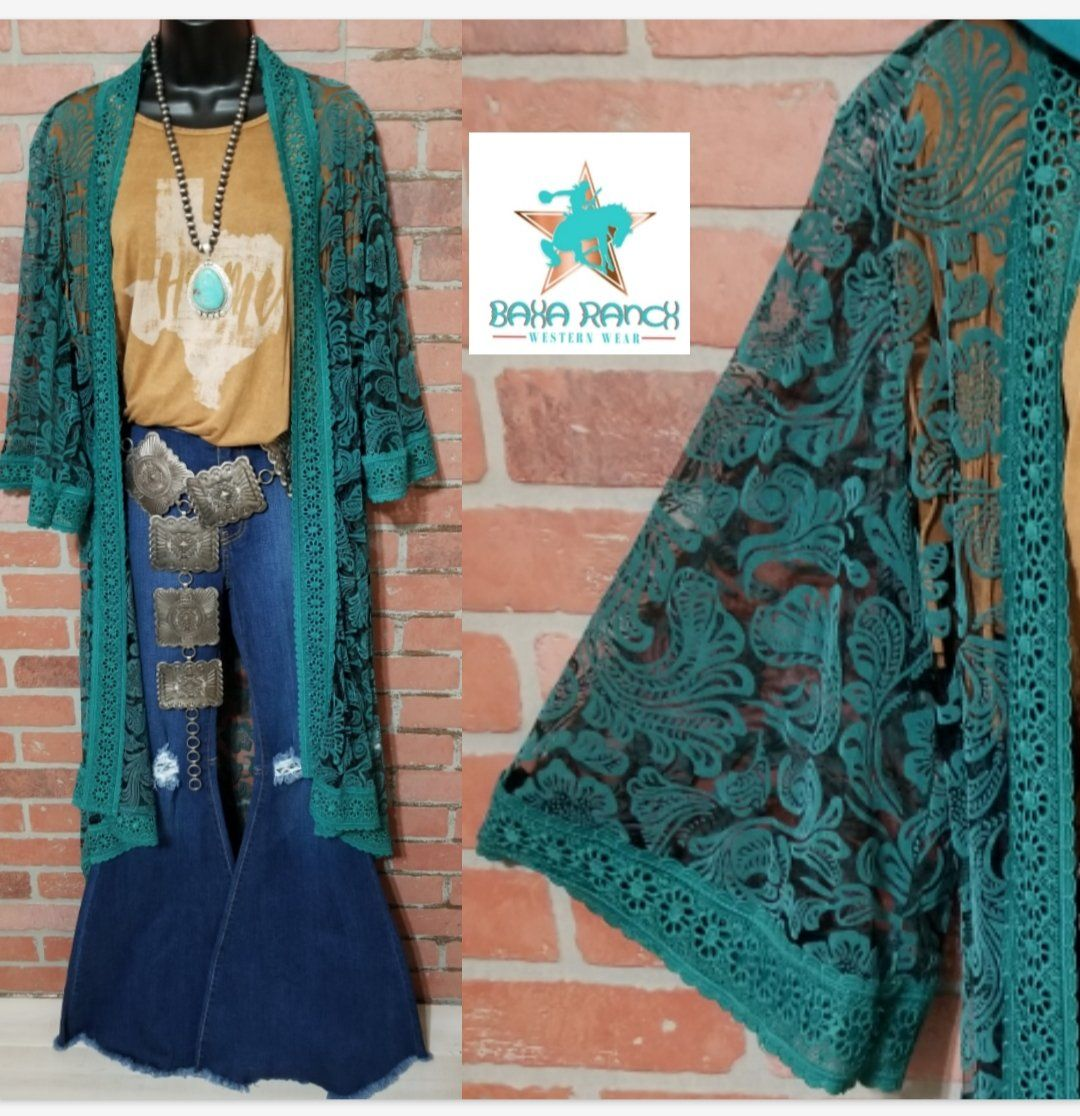 Old Mexico Turquoise Lace Duster Kimono #westernoutfits