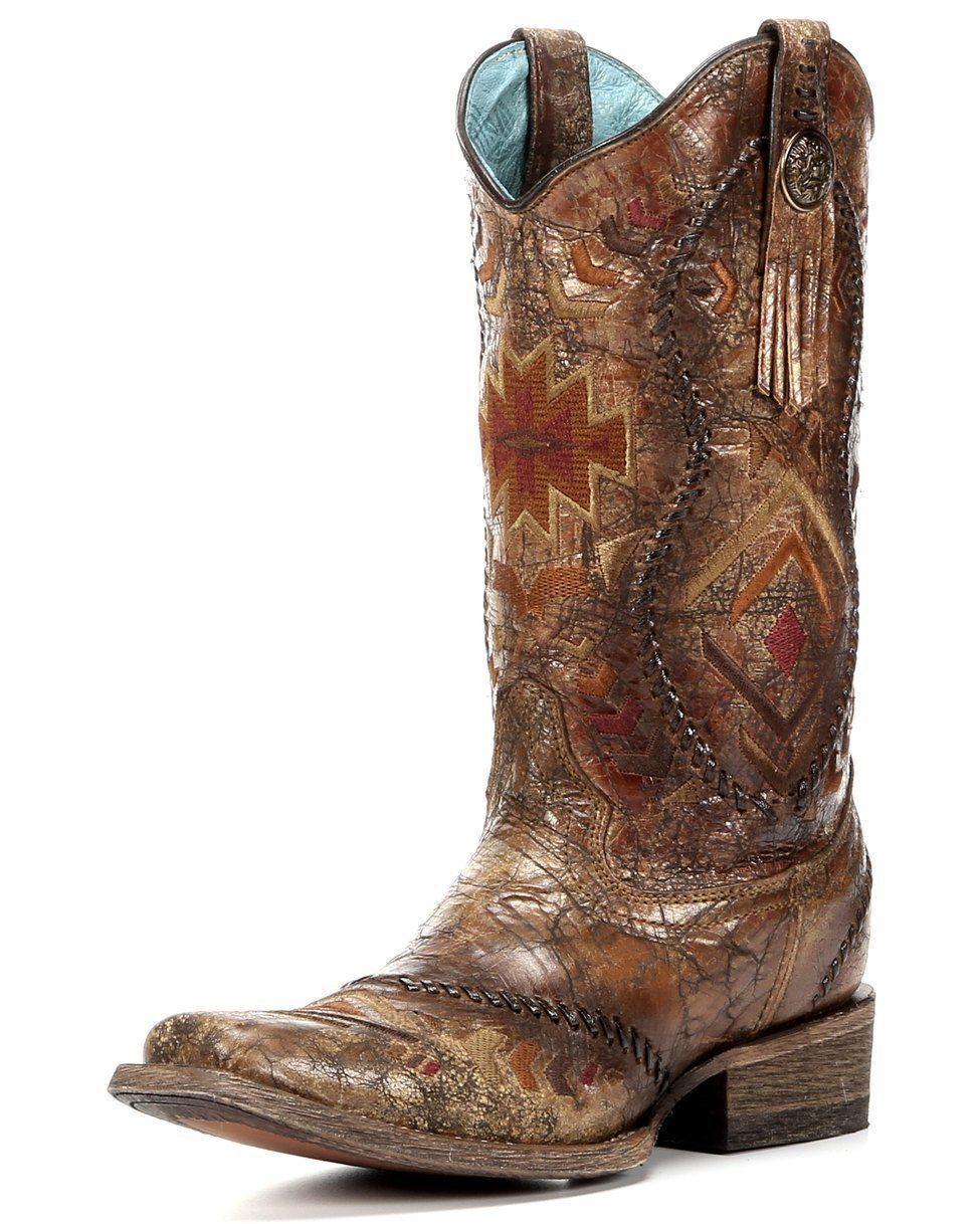 748b617ccbf Corral Cognac Multi-Color Aztec Whip Stitch Cowgirl Boots - Square ...