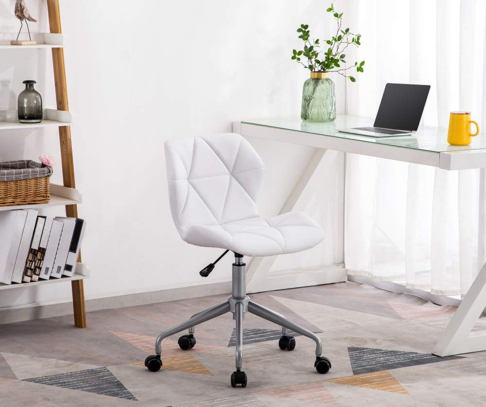 Just Home White Grid Chair With Spider Base Big Lots In 2020 White Desk Chair White Desk Bedroom Cheap Desk Chairs