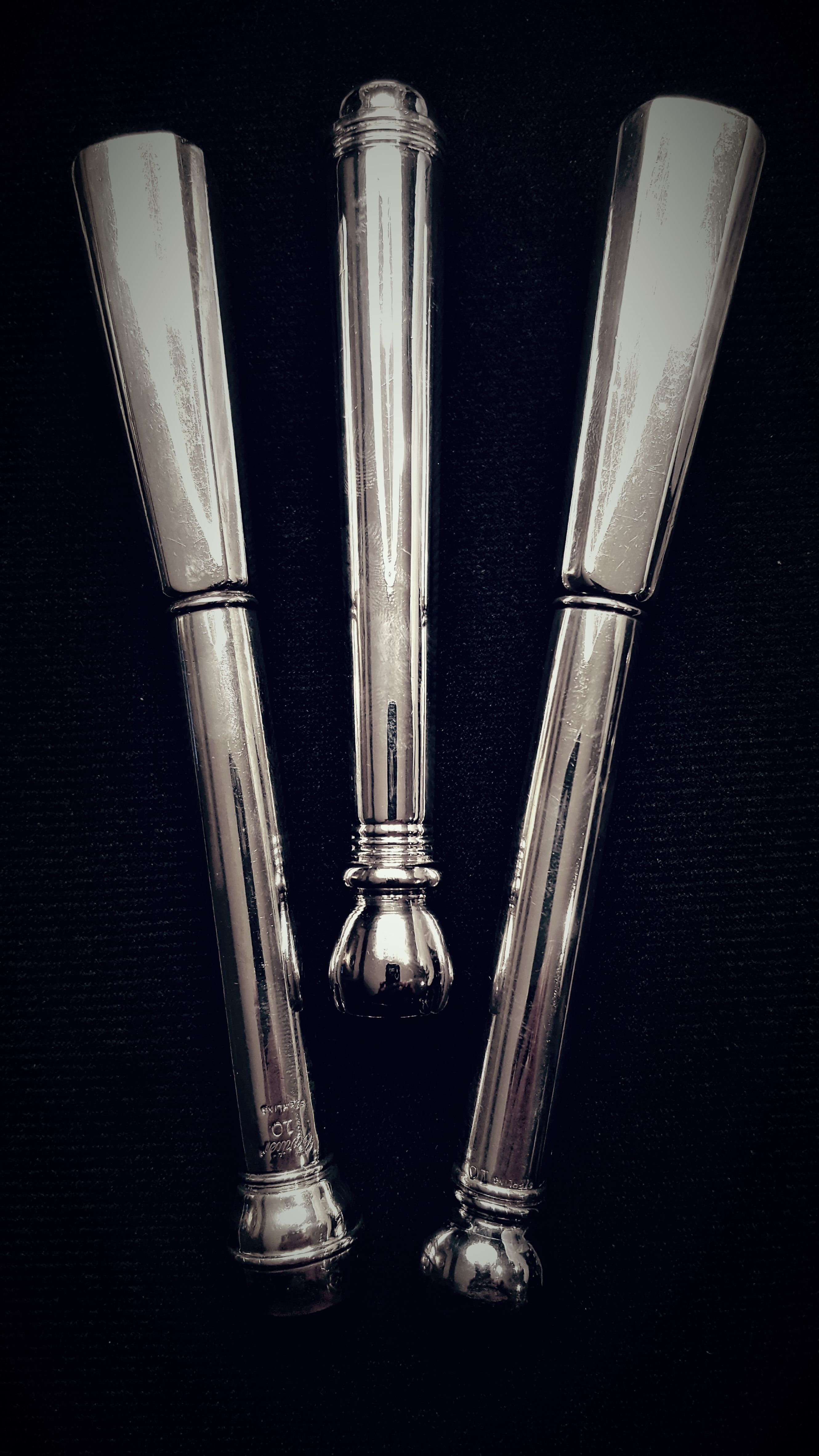 Three Sterling Silver Muddlers, Cartier, Unknown Maker, And Hasselbring.