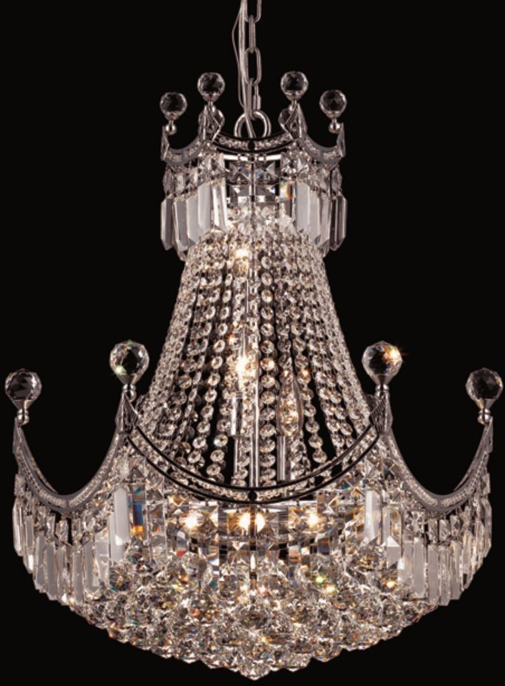 Elegant lighting 8949d20c rc corona 9 light crystal chandelier in chrome with royal cut crystal clear corona chandeliers and chrome
