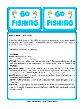 Little Learning Labs Go Fishing Card Game Remix Of Classic Go Fish Card Game Fishing Cards Card Games Classic Card Games