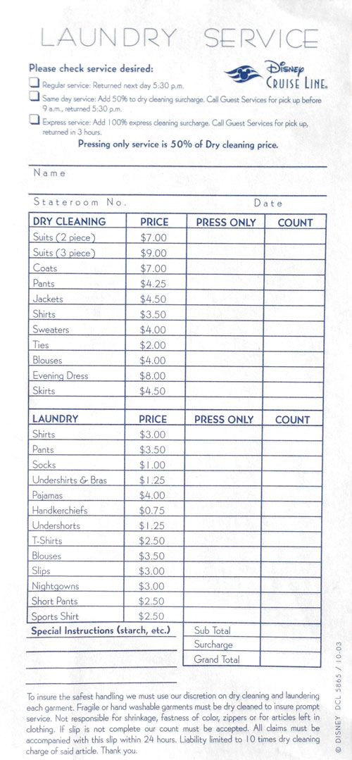 Dcl Dry Cleaning Pressing Fees For Formal Wear Dry Cleaning Disney Cruise Line Laundry Service