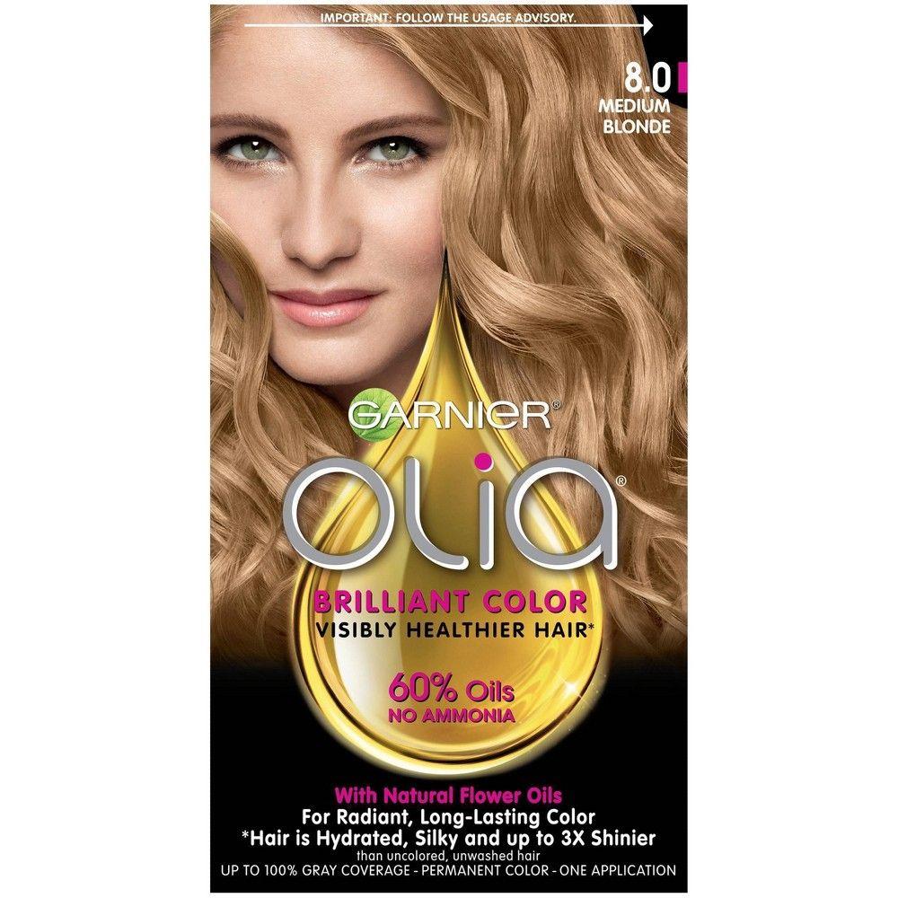 Garnier Olia Oil Permanent Hair Color - 6.3 fl oz - 8.0 Medium Blonde - 1 kit