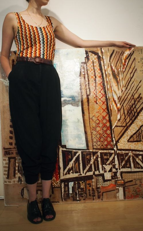 Mixed media on canvas by Simpson & tank by Missoni on Patricia. / Fashion Monday by Art Interiors / Toronto Art Gallery