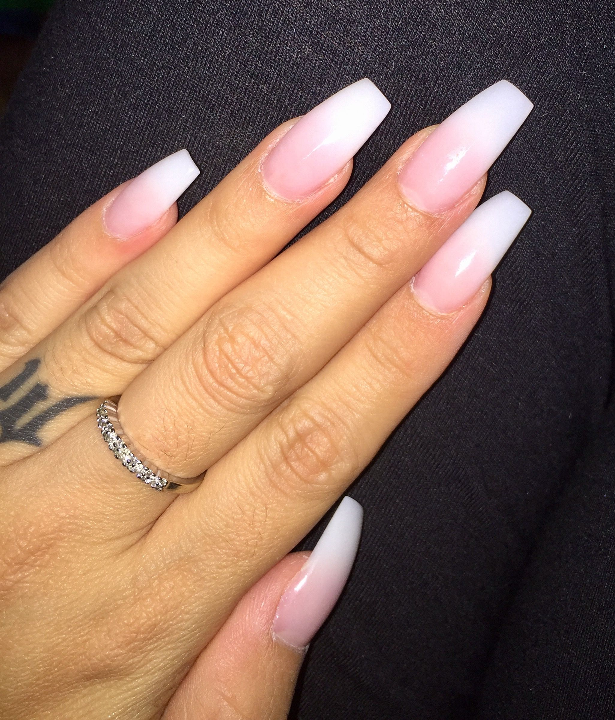 Pink To White Acrylic Ombre Coffin Style Ig Ashleyvictoria Xo Light Pink Acrylic Nails Pink Acrylic Nails Pink Nails