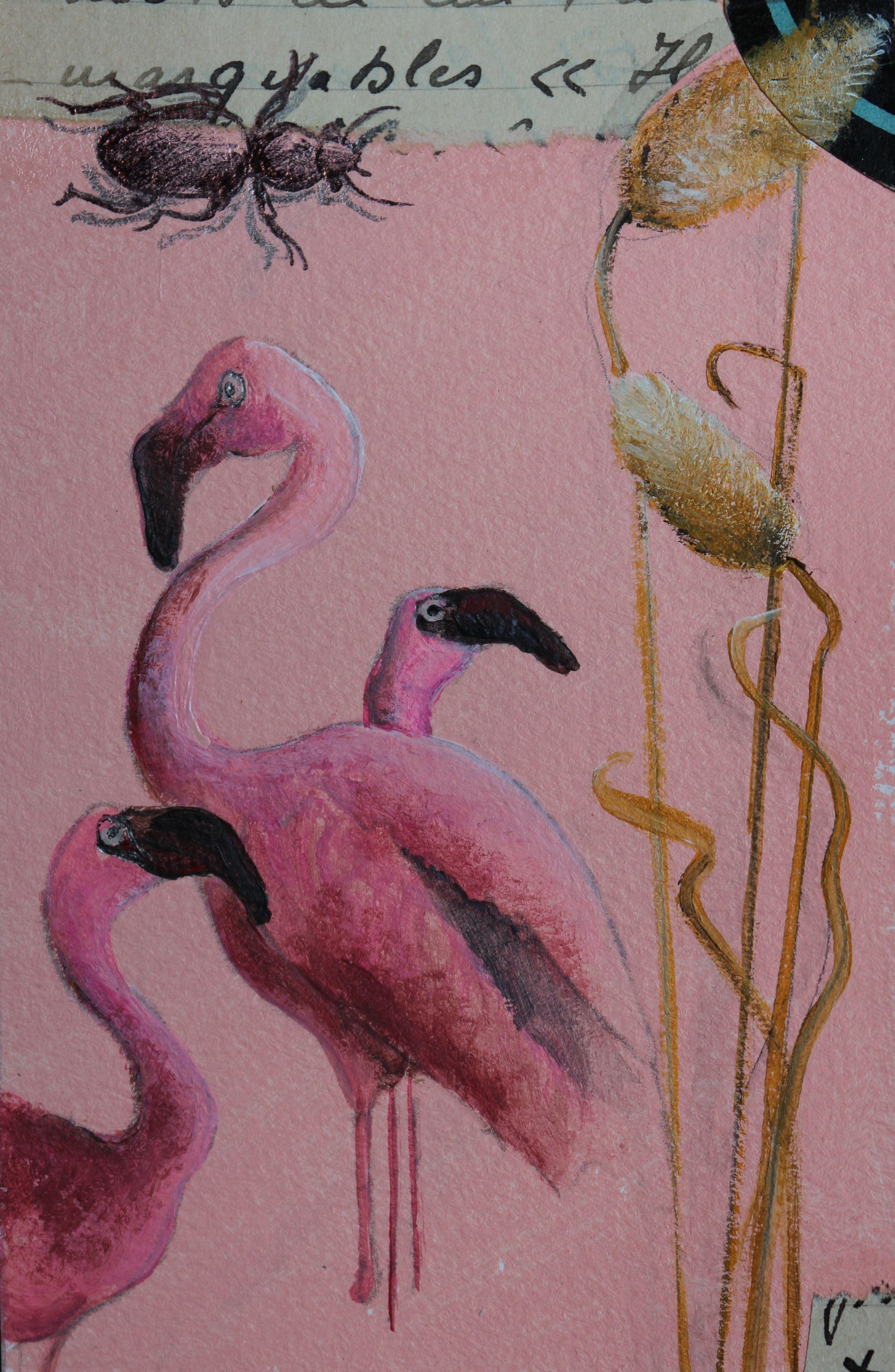 Acrylique et collage sur papier. 8X14cm