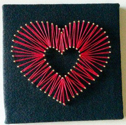 image result for string art heart crafty goodness string art string art heart nail string art. Black Bedroom Furniture Sets. Home Design Ideas