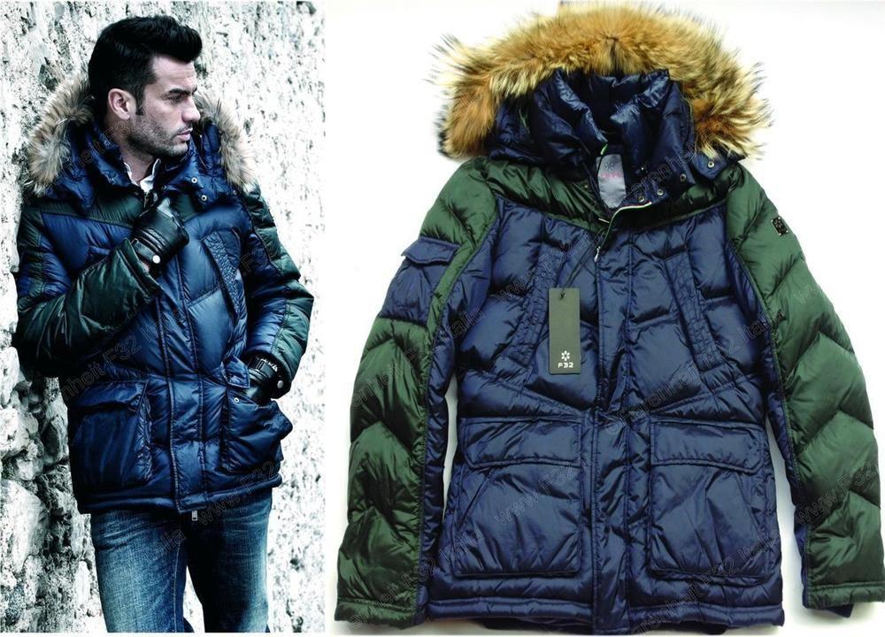 F32 ITALY HOODED FUR WARM DOWN PARKA COAT Jacket Cappotto Size M L XL XXL XXXL