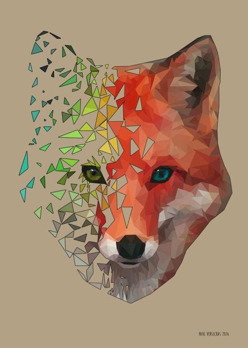 Polygon Fox Digital 800x1120 via /r/Art    | Drawing/ art