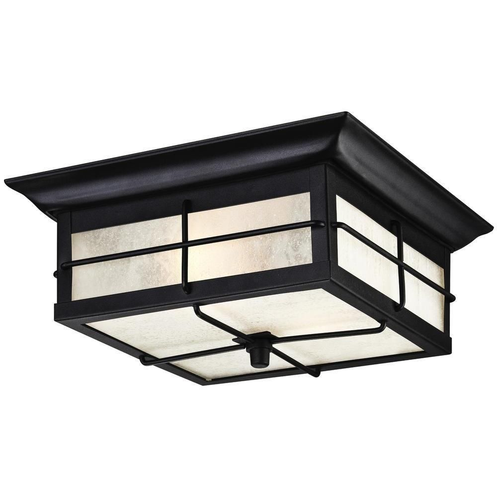 Westinghouse Orwell 2-Light Textured Black Outdoor Flushmount-6204800 - The Home Depot