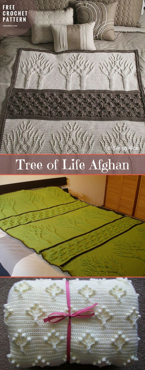 Tree of Life Afghan [Free Crochet Pattern | Häkeln, Gehäkelte decken ...