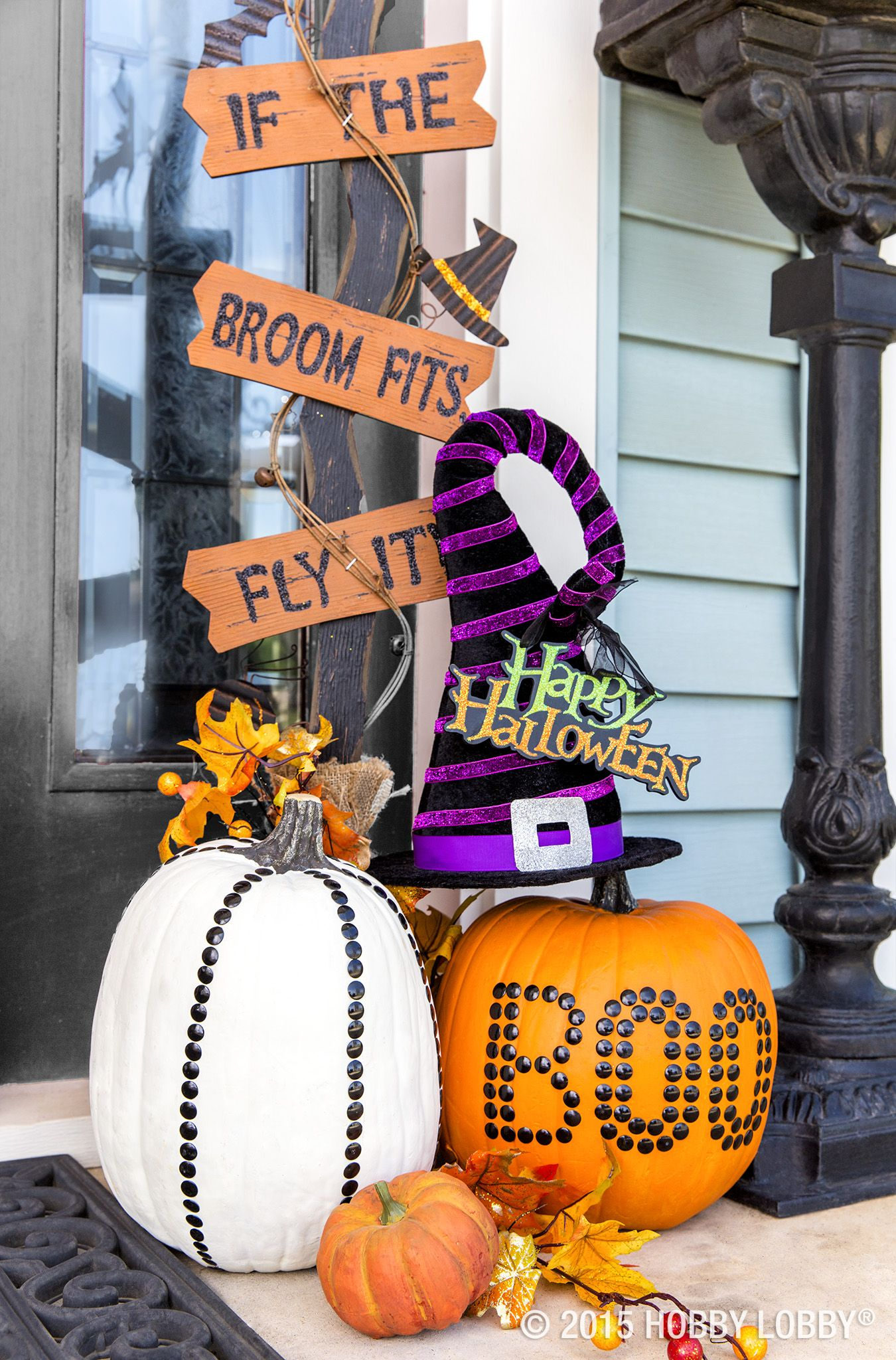 Give your Halloween decor a face-lift with spooky signs, studded