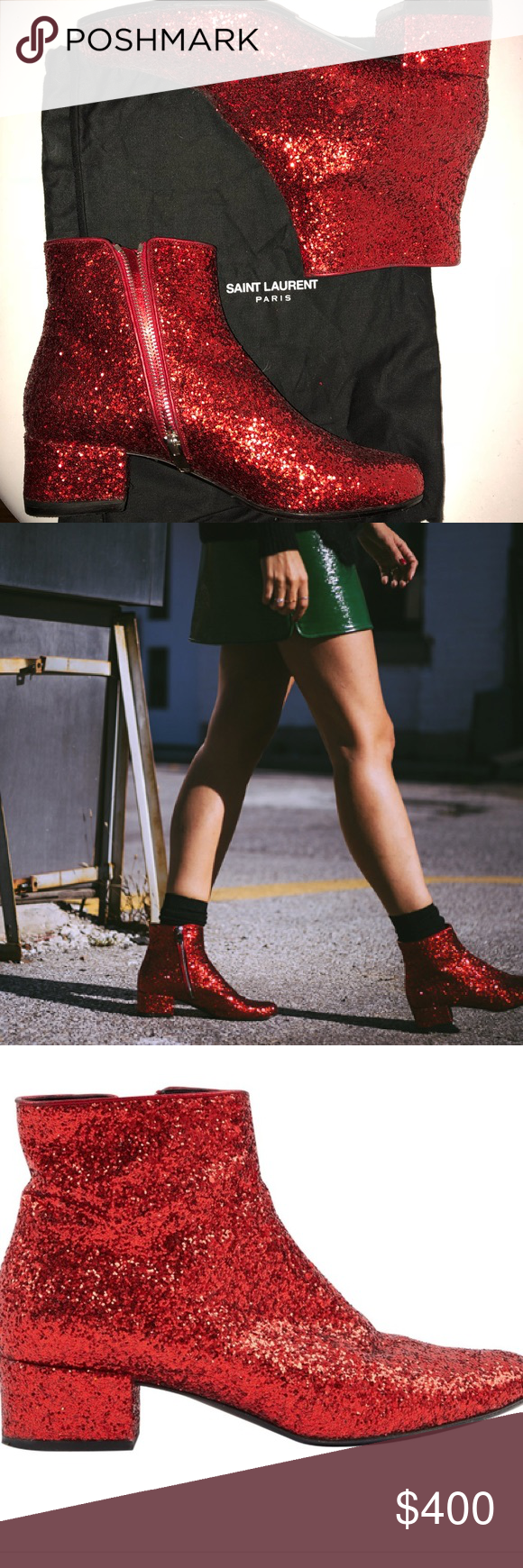aad6601b827 YVES SAINT LAURENT RED GLITTER BOOTS Red glitter sparkle booties!! Never  worn. Comes