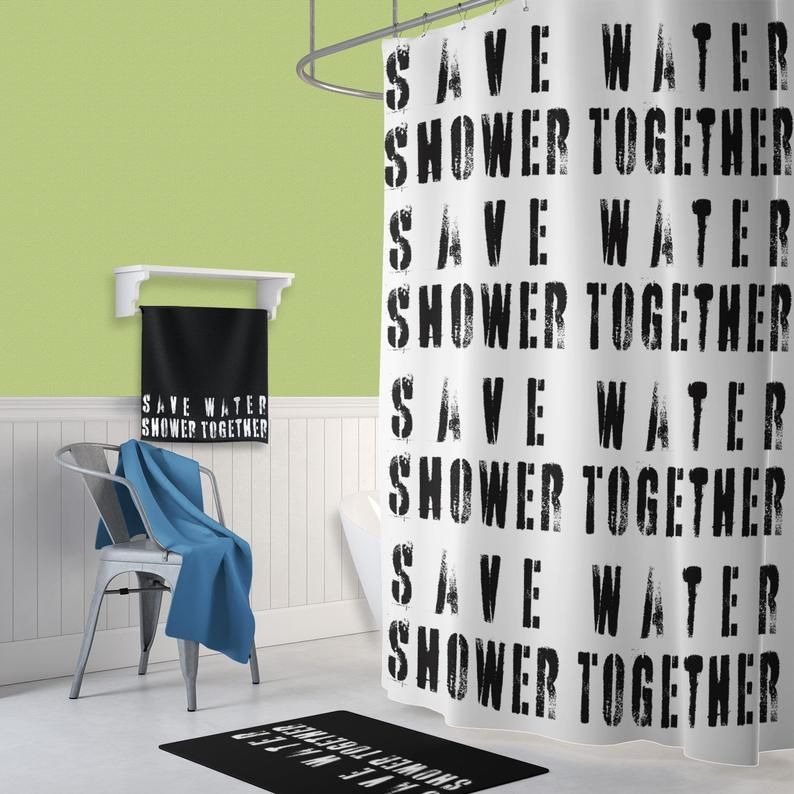 Save Water Shower Together Shower Curtain White Bath Curtain With