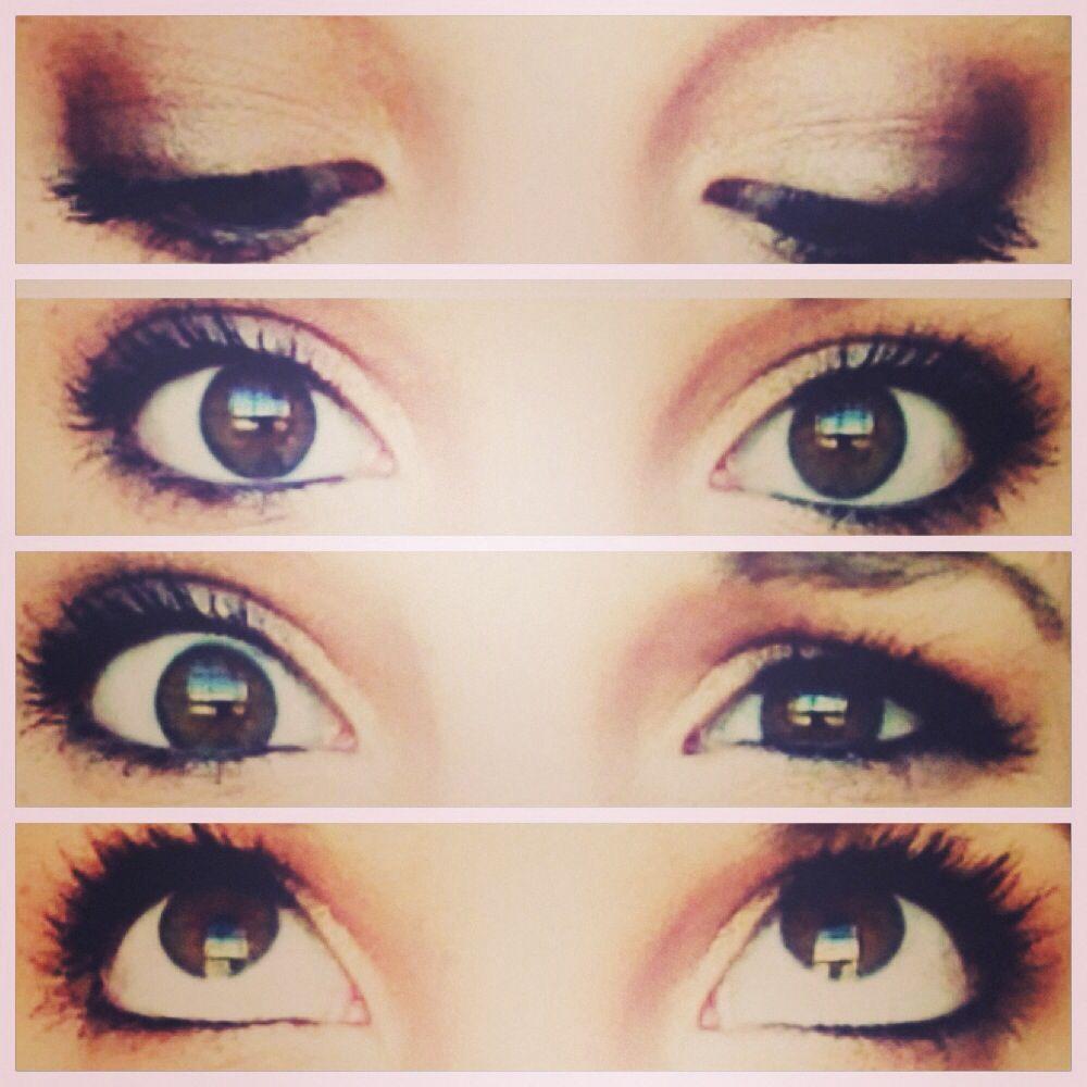 Eye makeup for brown eyes. Smoky and natural