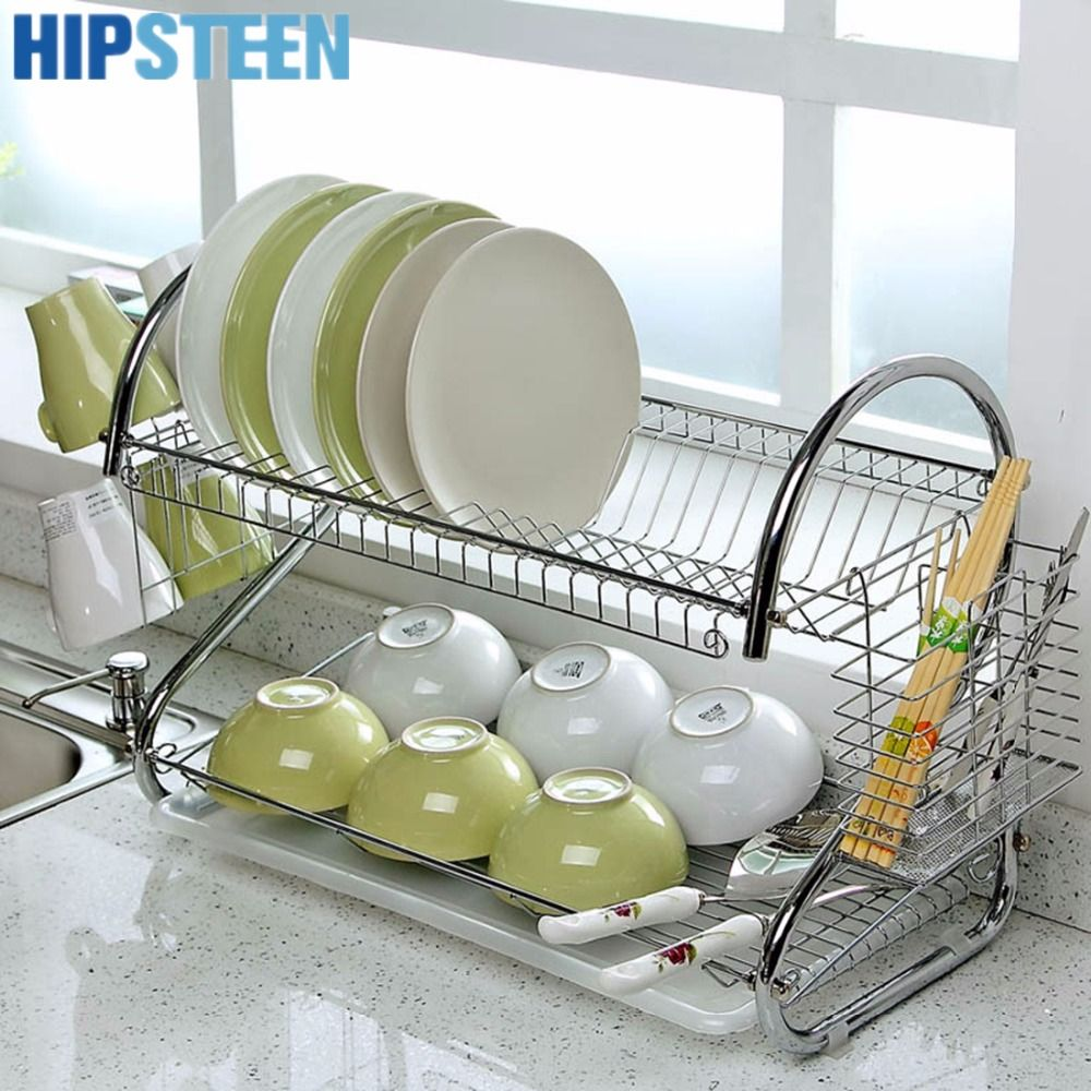 HIPSTEEN Multifunction S-shape Stainless Steel 2-Tier Dish Rack ...