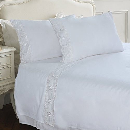 White-Sheet-Set-Queen-w-Embroidered-Lace-Soft-Organic ...