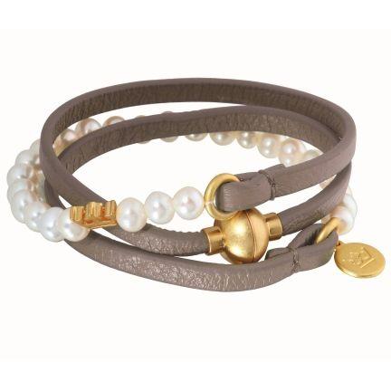 Sence Lederarmband zum Wickeln vergoldet, graues Leder kombiniert mit Perlen grey agate