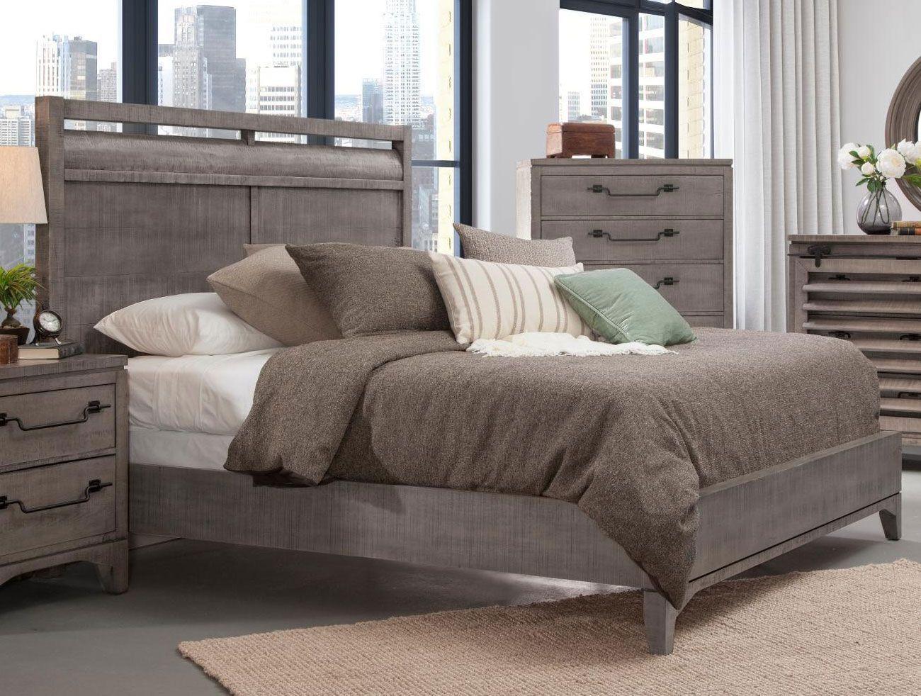 Rustic Contemporary Old Gray 4 Piece Queen Bedroom Set