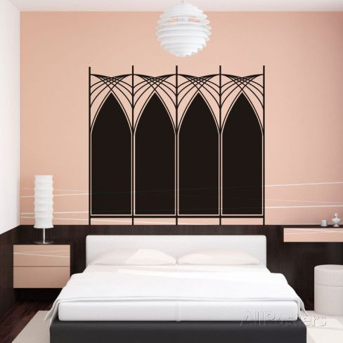 Art Deco Wall Art art deco headboard (double) | wall decals, art deco and walls