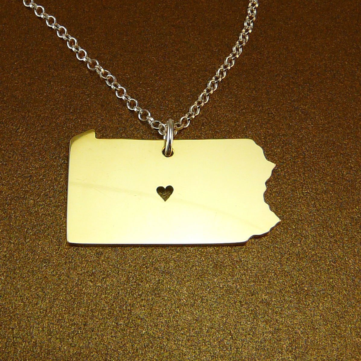 I heart pennsylvania brass necklace sterling silver chain