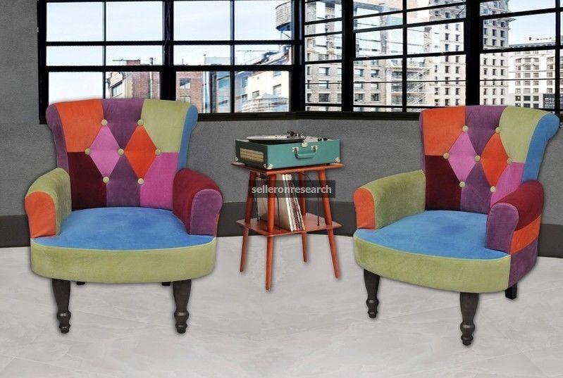 Schlafzimmer Sessel ~ Retro 2er set stoffsessel vintage patchwork sessel bunt