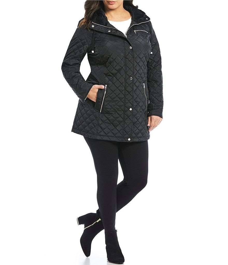 6115c3f78f321 Calvin Klein Plus Size Single Breasted Hooded Quilted Coat in 2018 ...