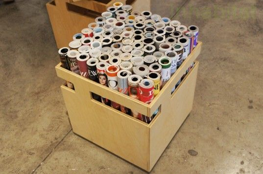 great idea for an extra stool or table base... use an old crate and fill with rolled magazines.