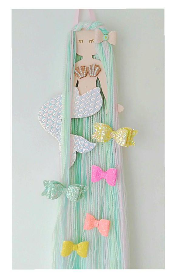 Mermaid hair bow holder, hair bow organizer