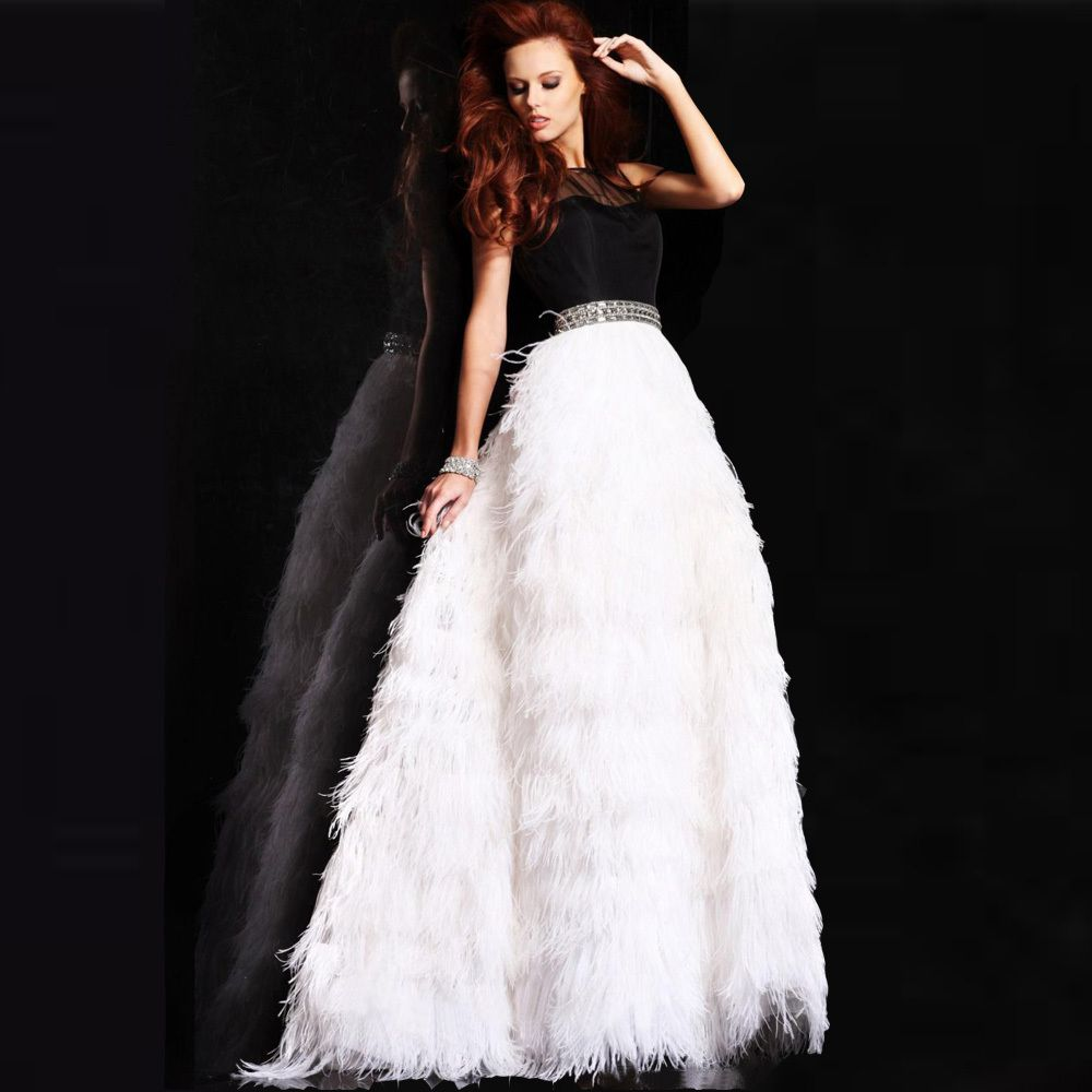 Click to buy ucuc modest black and white feathers beading sash formal