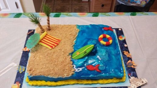 Homemade beach cake for the Best Grandson in the world! made by BETTERSERVED.WIX.COM/betterserved