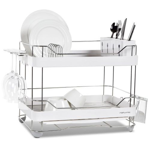 2 Tier Wide Kitchen Sinkware Dish Rack Drying Stainless Steel Large