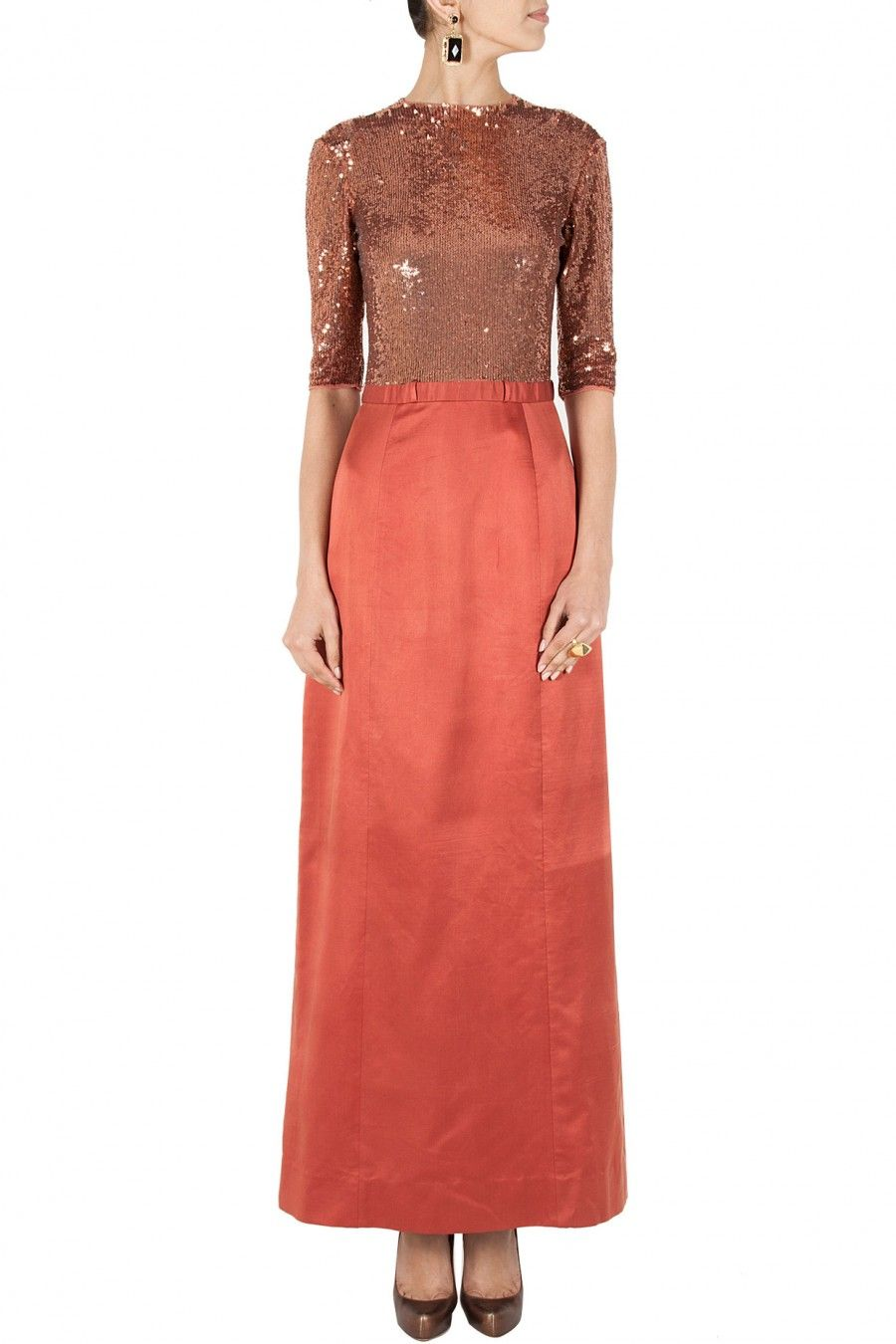Rose gold long dress with sequined bodice by sailex shop now at