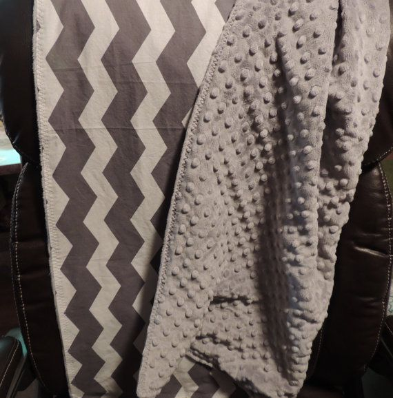 "Elegant baby blanket. Gray and white chevron backed with plush dimple dot minky 30""X 36"". on Etsy, $36.00"
