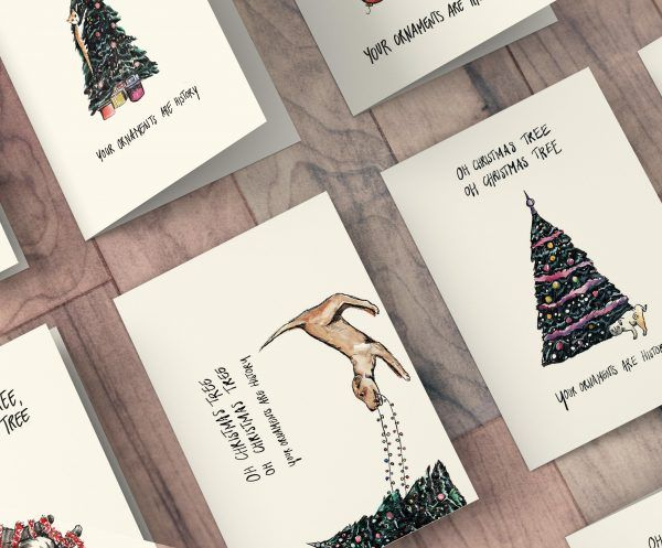 Kerstkaarten Oh Christmas tree, Oh Christmas tree set van 8 | Kerst kaarten, Kerstboom, Huisdieren