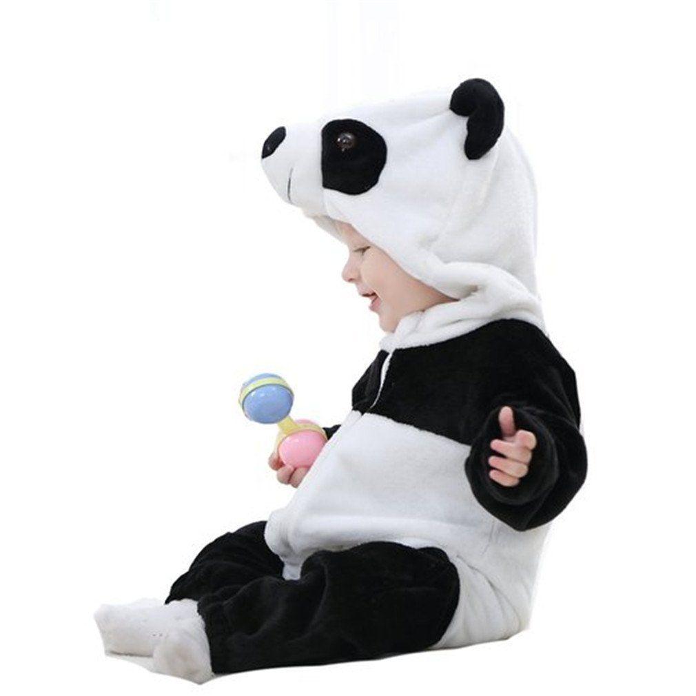 MICHLEY Baby Jungen Mädchen Winter Flanell Strampler Panda Outfits Anzug: Amazon.de: Bekleidung