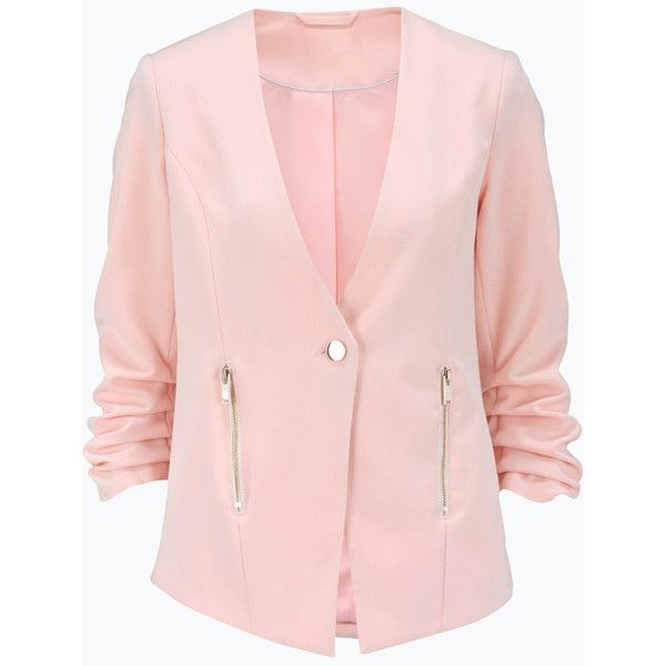 Ellos Collection Blazer med knap og lynlåse ($42) ❤ liked on Polyvore featuring outerwear, jackets, blazers, pink blazer jacket, pink blazer, pink jacket and blazer jacket