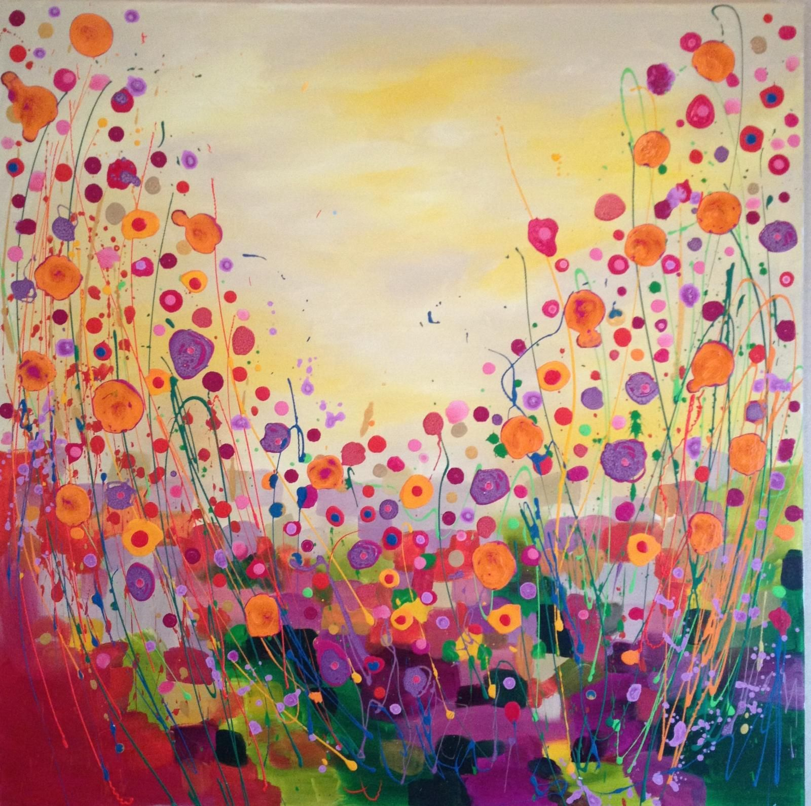 The Essence Of Summer Abstract Art, Floral, Flower Field Acrylic