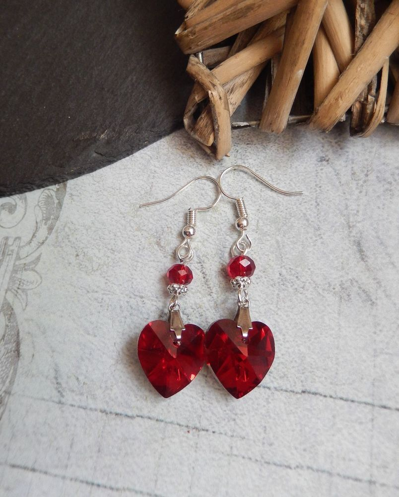 b839cf973b2b Siam Red Crystal Heart Beaded Drop Earrings Gothic Victorian Retro Vintage  UK