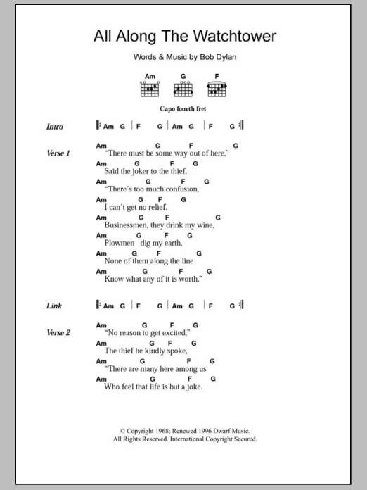 Download Guitar Chordslyrics Sheet Music To All Along The