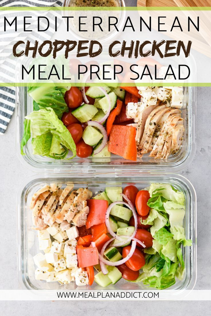 Mediterranean Chopped Chicken Salad {Meal Prep} -   18 meal prep recipes for weight loss keto ideas