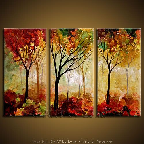 Buy Three Canvas Paintings Triptychs P 48 Nature Paintings Acrylic Autumn Painting Three Canvas Painting
