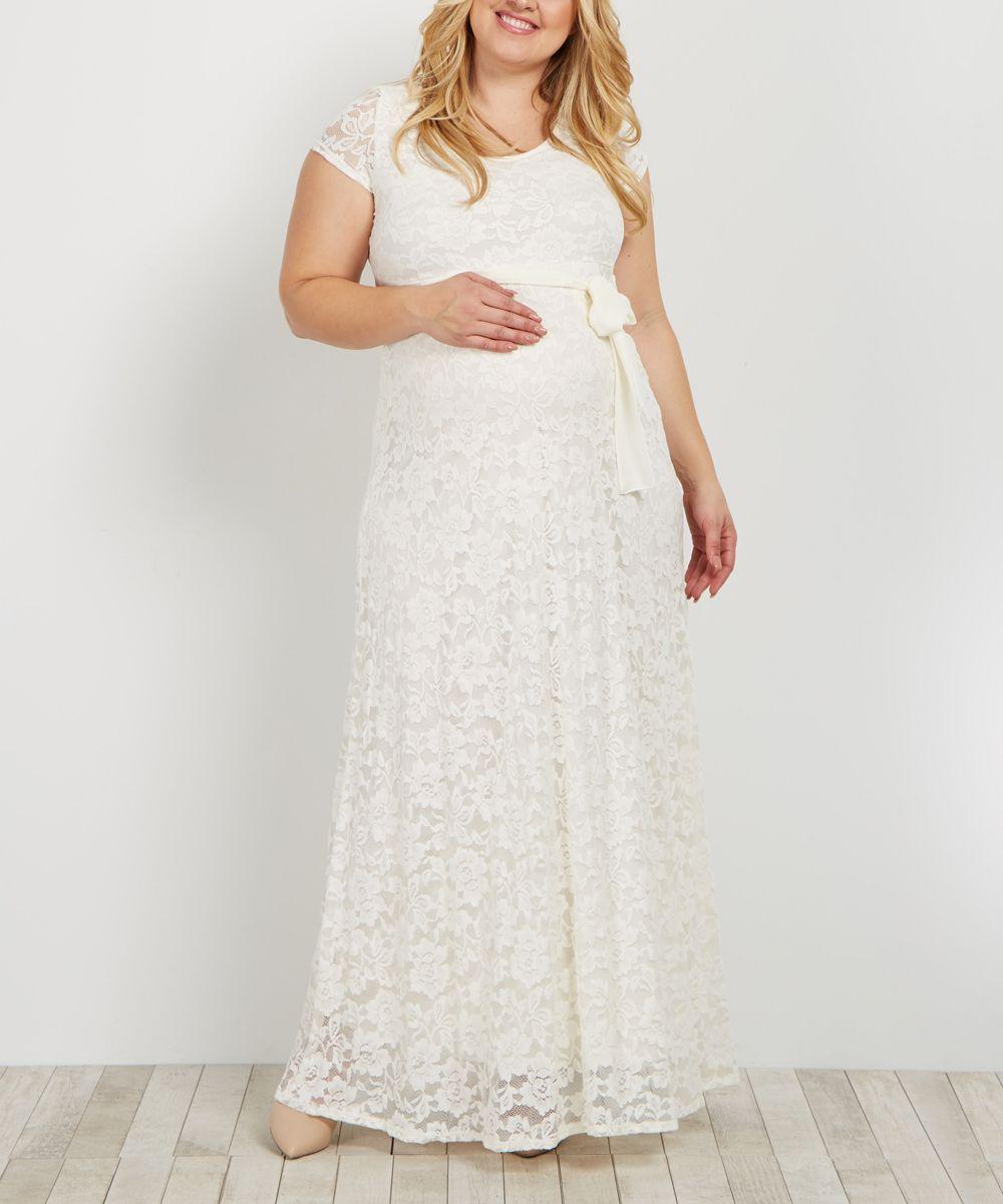 74549563a13 PinkBlush Ivory Lace Maternity Maxi Dress - Plus