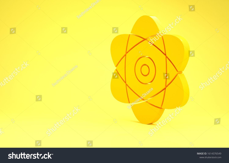 Yellow Atom Icon Isolated On Yellow Background Symbol Of