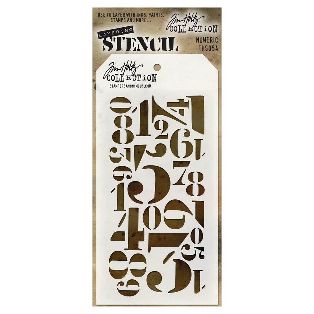 "Tim Holtz Layered Stencil Numeric-White 4.125""x8.5"", Winter White"