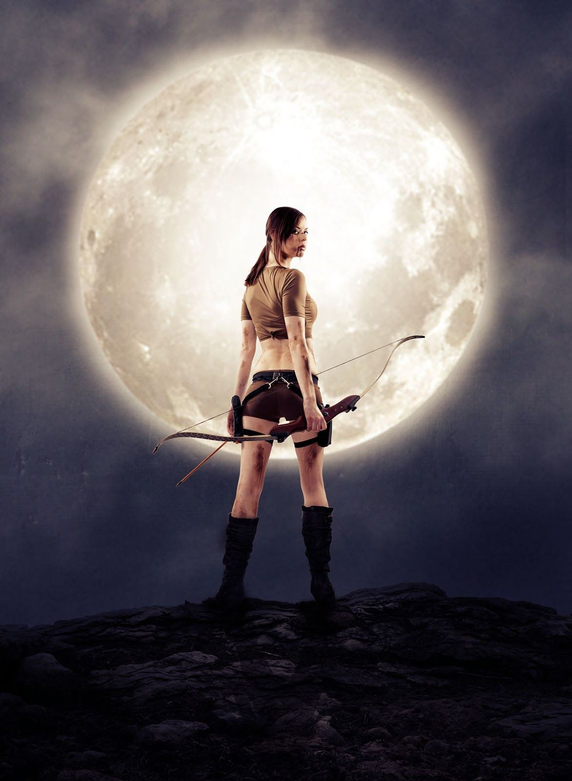 warrior woman with moon photo manipulation effects in